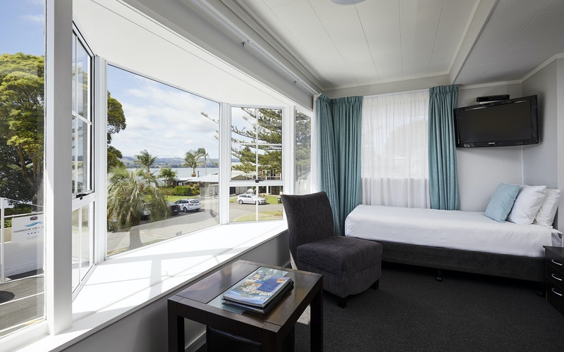 Enjoy the water views from the bay window over the inner harbour.