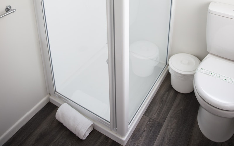 Renovated bathrooms with new glass showers