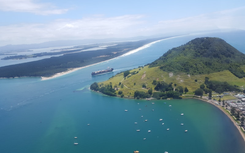 Views over the Tauranga harbour entrance and Matakana Island