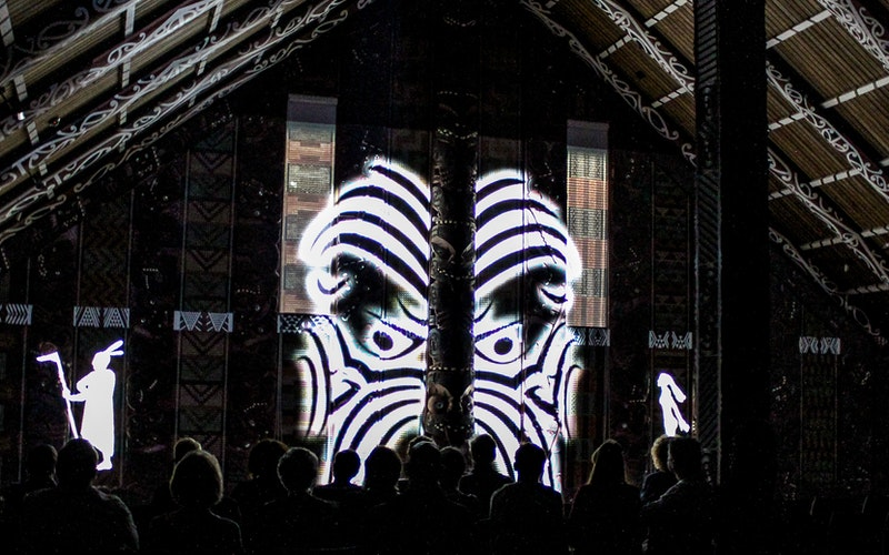 The award winning Mataatua Digital Spectacle - Hiko: Legends Carved in Light.