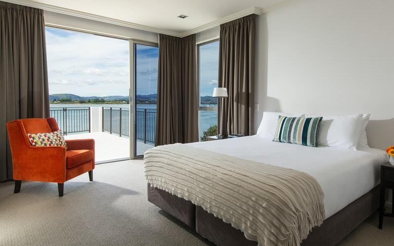 The Master Bedroom in the Harbour View Three Bedroom Apartment offers an en-suite with spa bath